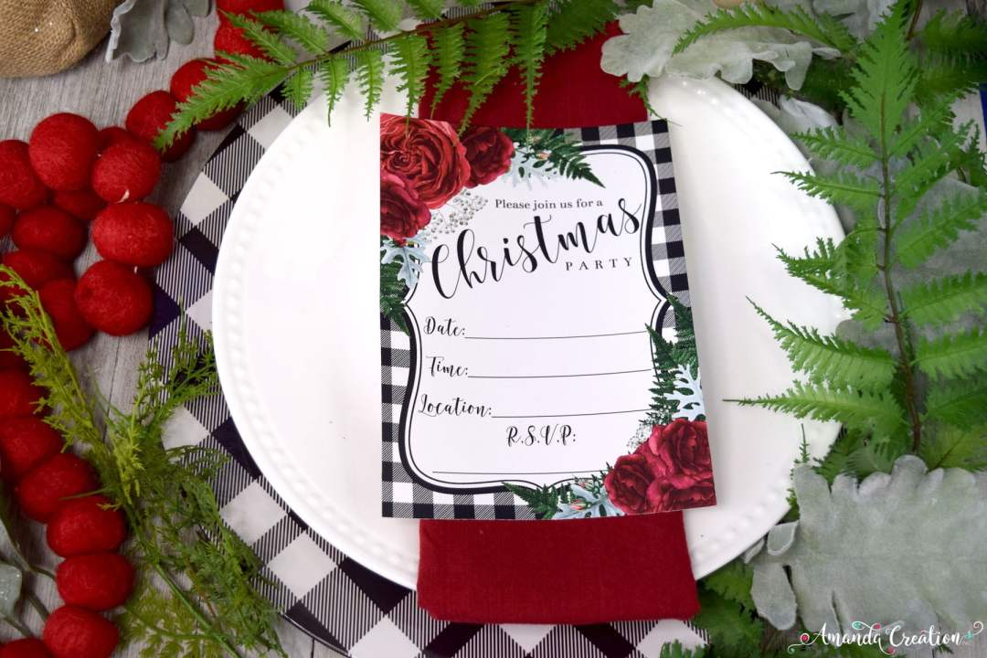 red floral Christmas party invitation