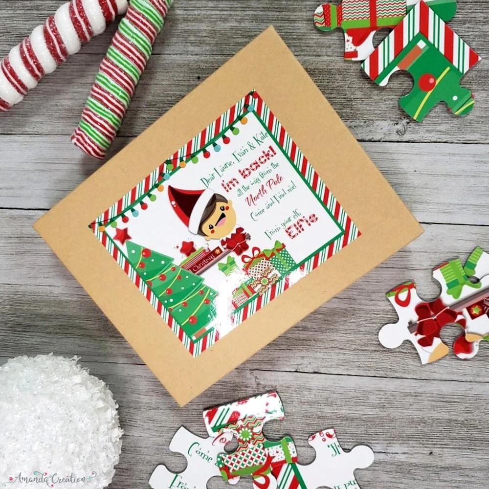 Elf puzzle gift box