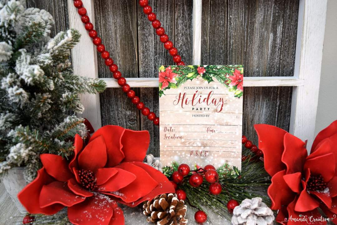 poinsetta holiday invitation