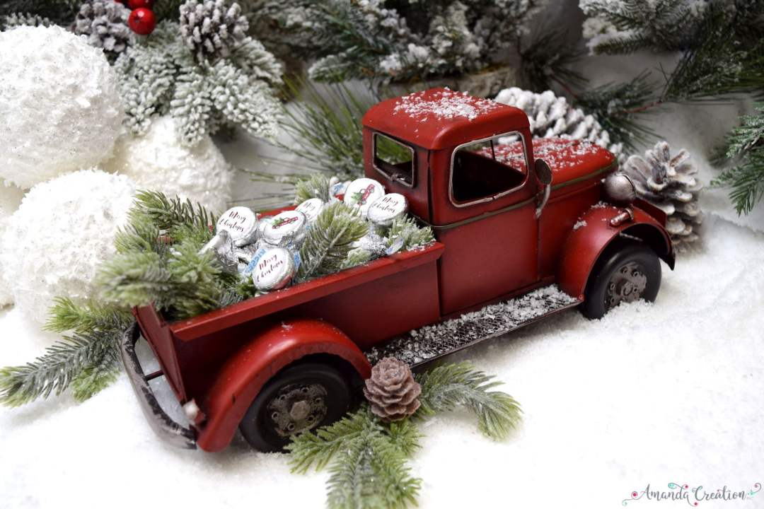 Christmas red pickup truck kiss stickers