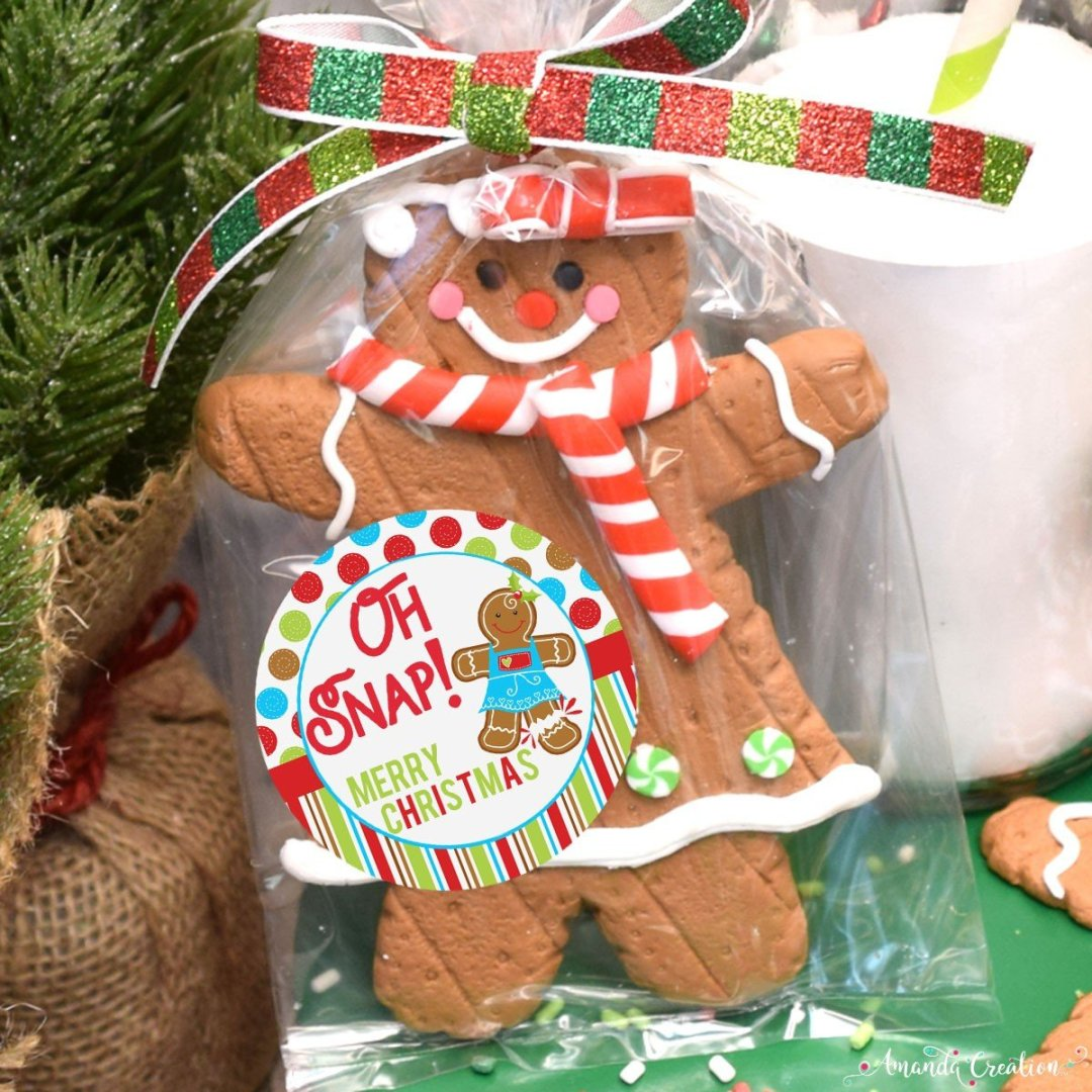 Gingerbread Merry Christmas Gift Sticker