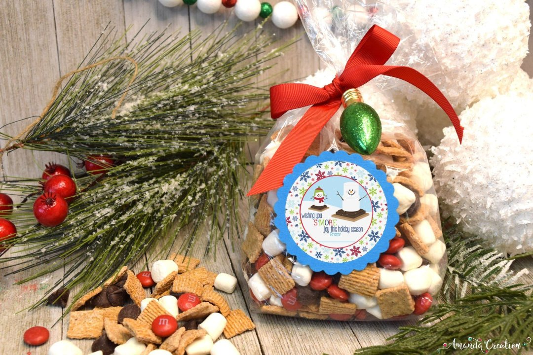 s'more treat holiday gift sticker