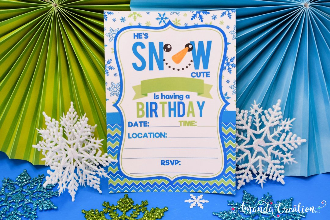 snowman boy birthday invitation