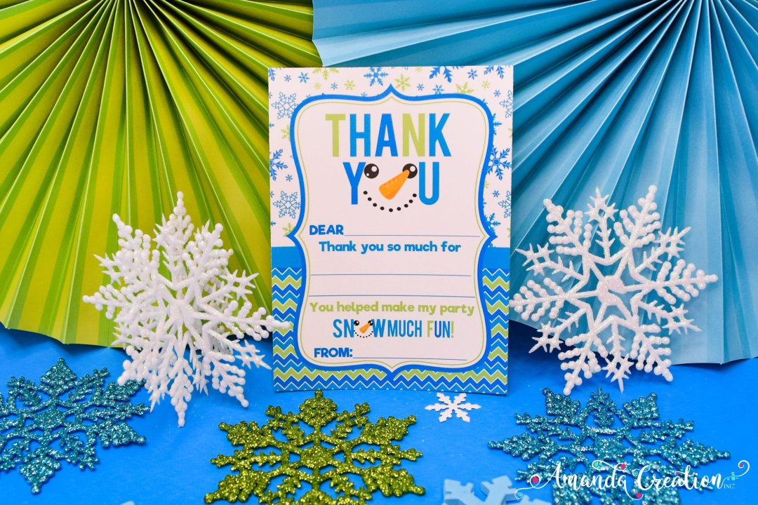 snowman party thank you card
