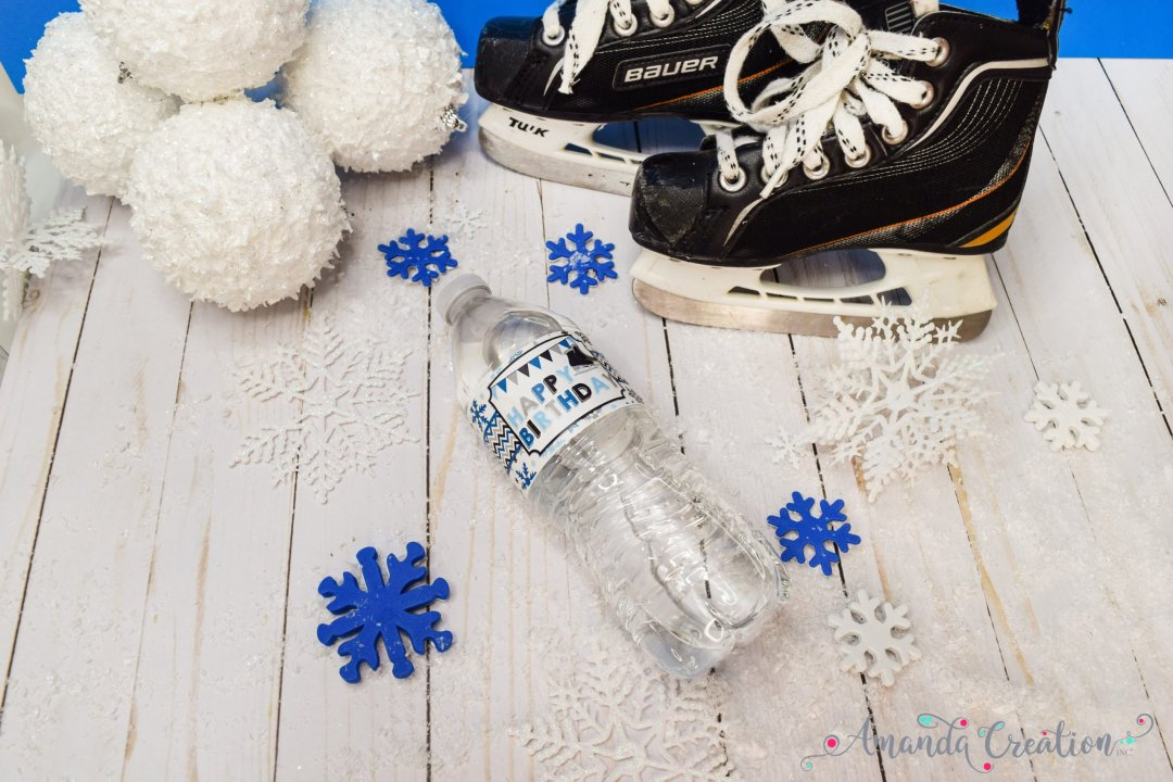ice skating happy birthday water bottle labels