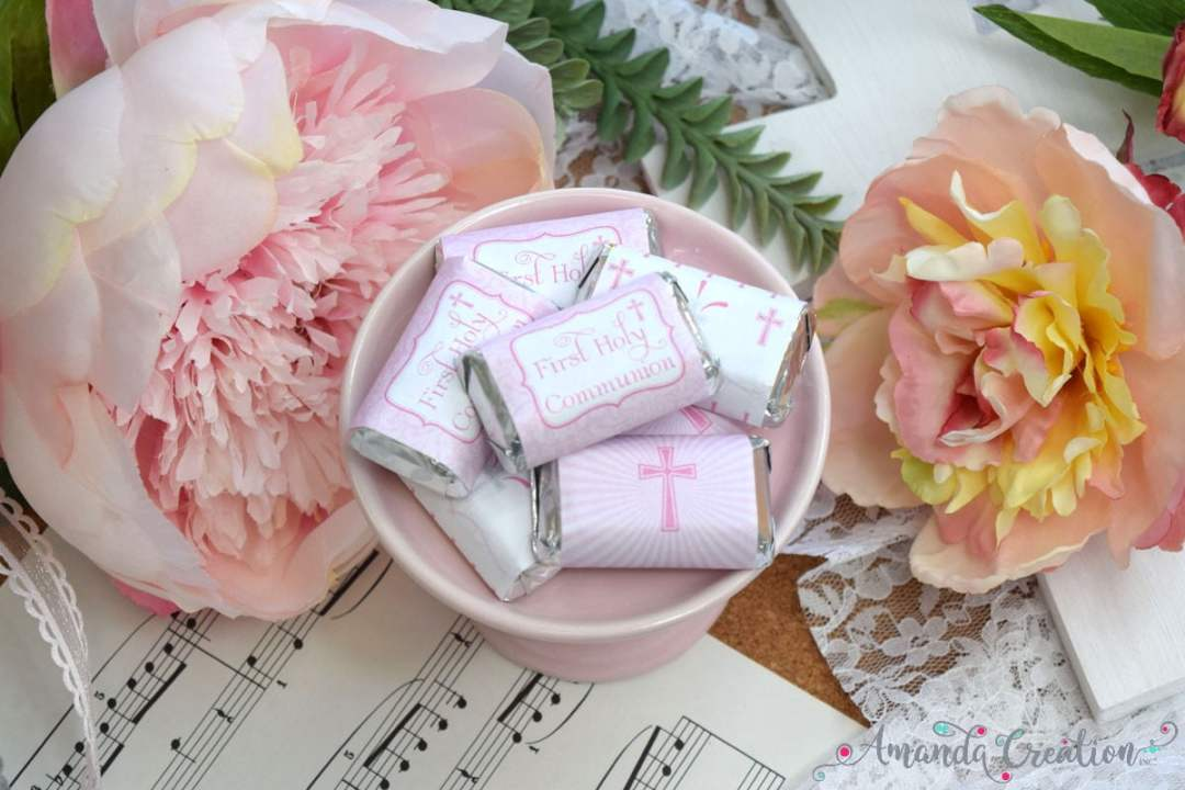 First Communion Mini Candy Bar Wrappers