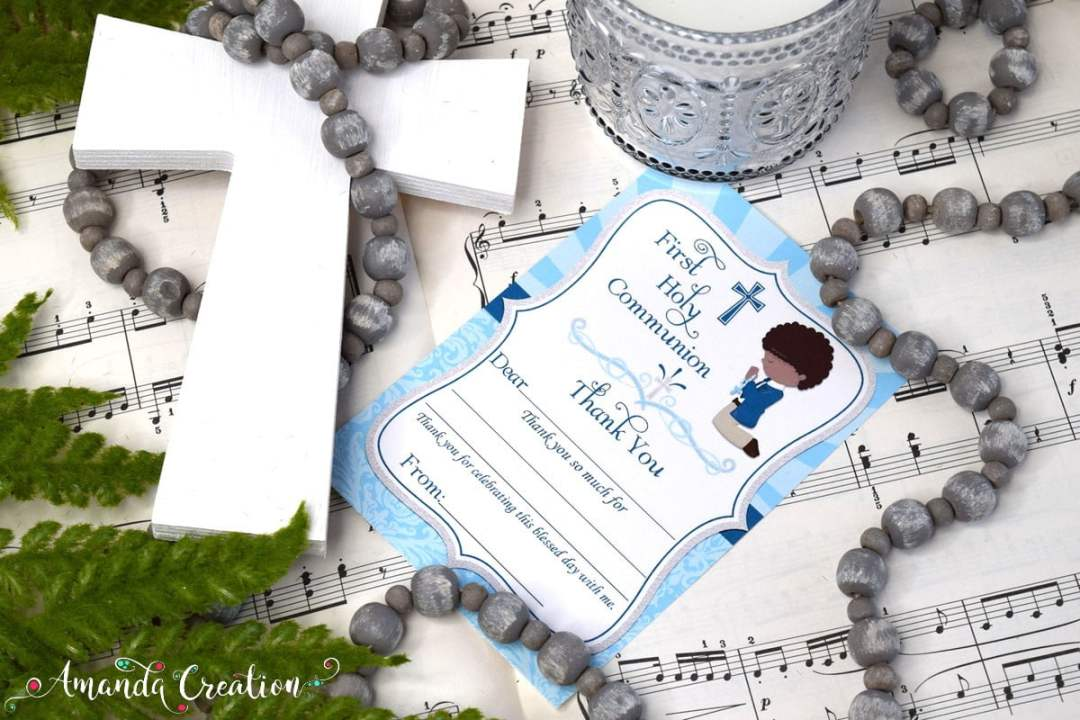 Boy First Communion Thank you Cards