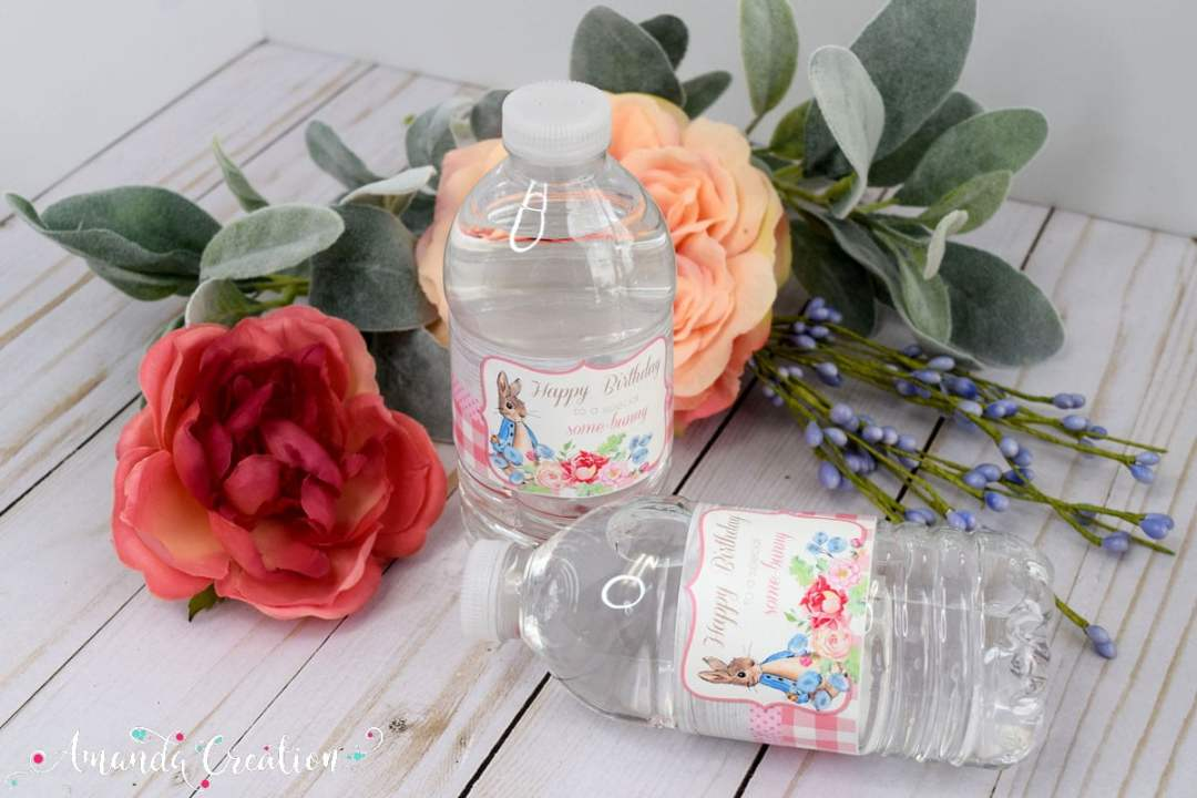 Little Rabbit Floral Water Bottle Labels (Girl)