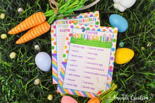 Easter Word Scramble and Scavenger Hunt Game Cards