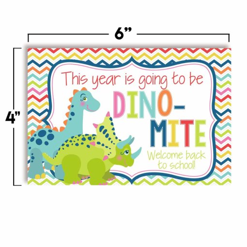dinosaur welcome back to school postcards