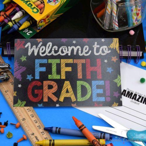 Fifth Grade Back to School Postcards