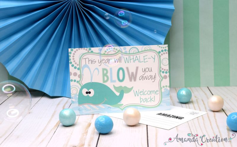 Whale Back to School Cards