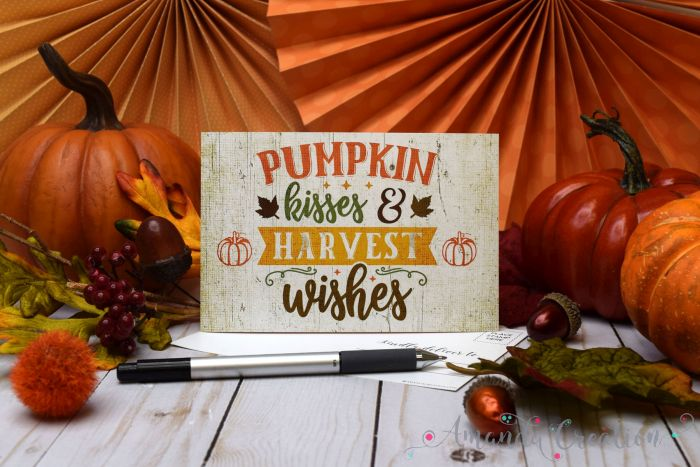 Pumpkin Kisses & Harvest Wishes Fall Postcards