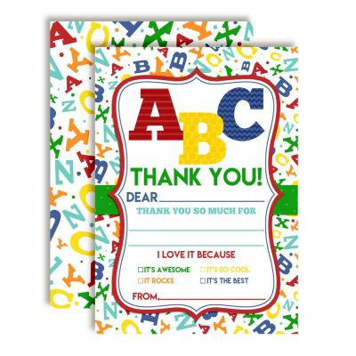 ABC Alphabet Letters Thank You Cards