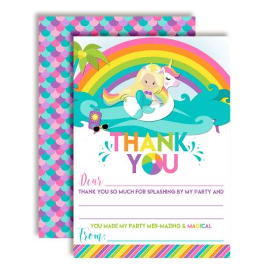 Blonde Mermaid Unicorn Pool Party Thank You Cards