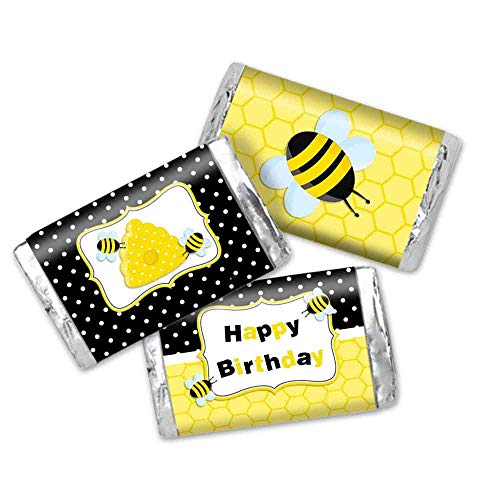 Buzzing Bumble Bee Birthday Party Mini Chocolate Candy Bar Sticker Wrappers for Kids
