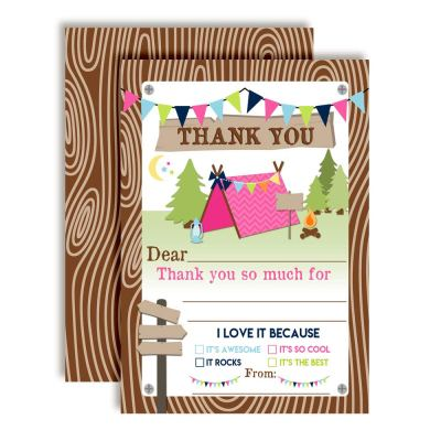 Camping Thank You Cards (Girl)