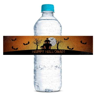 spooky haunted house water bottle labels