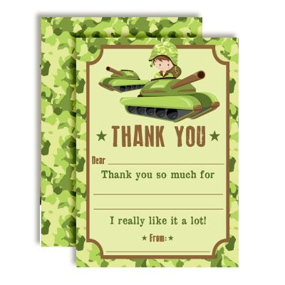 Army Tank Birthday Thank You Cards