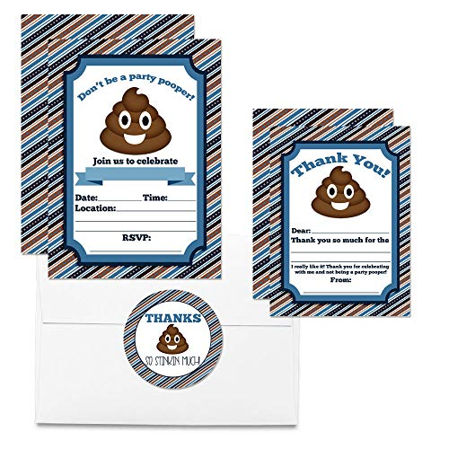 Poop Emoji Thank You Cards (Boy)
