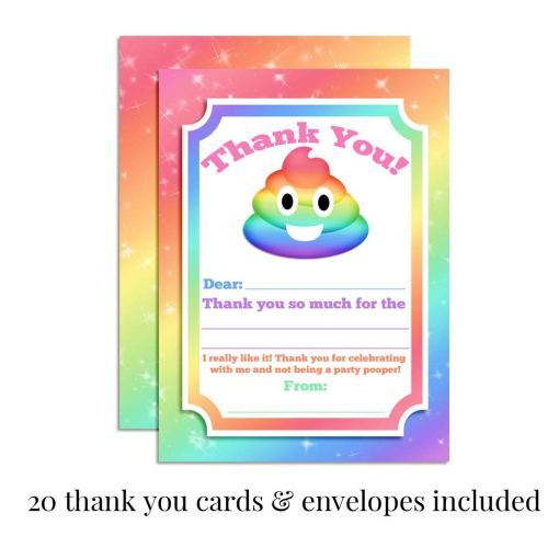 Rainbow Poop Thank You Cards
