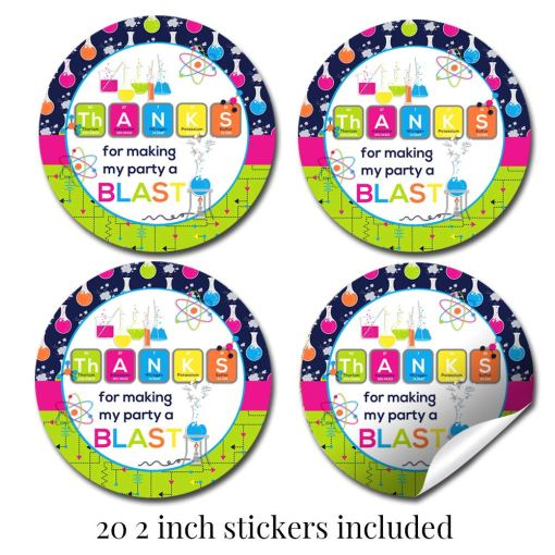 Science Birthday Party Stickers