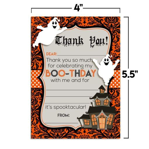 Halloween Ghost Birthday Thank You Cards