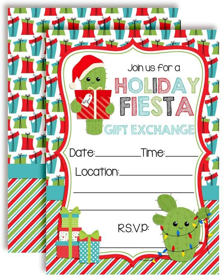 Holiday Fiesta Gift Exchange Party Invitations - Amanda ...