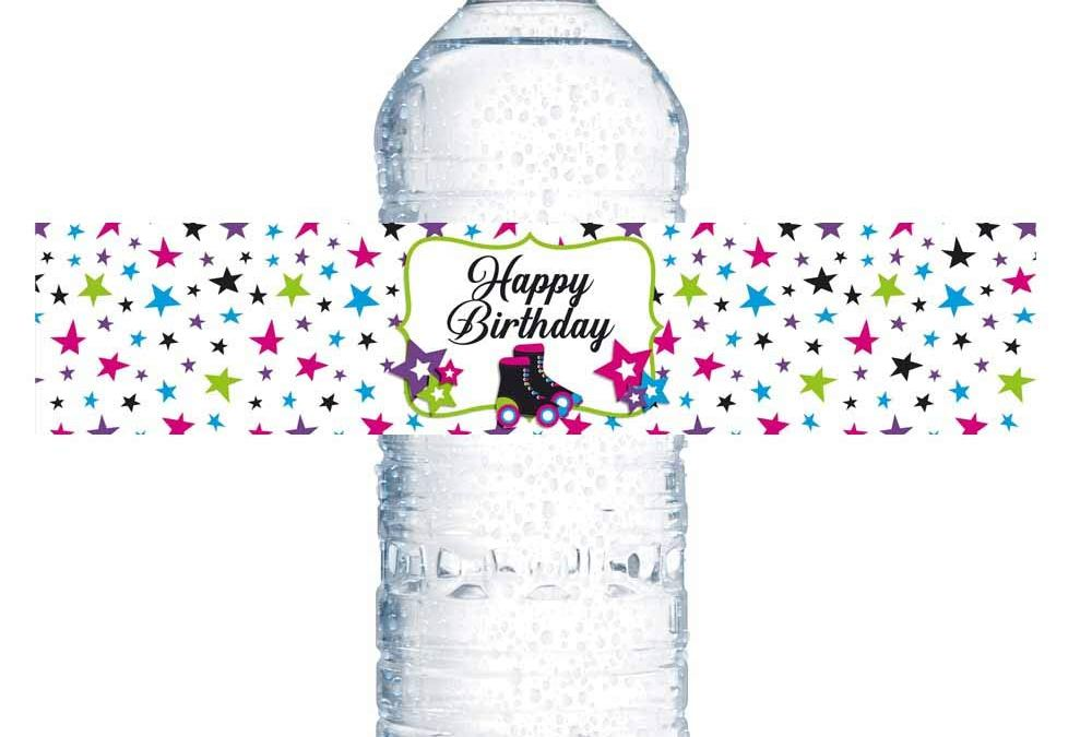 Let's Roll Star Roller Skating Birthday Party Water Bottle Labels