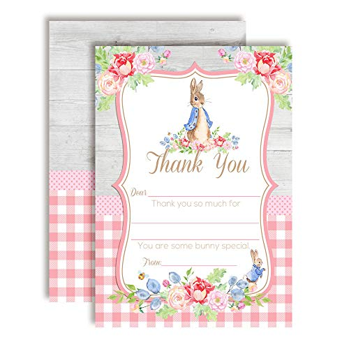 Little Rabbit Floral Thank You Cards (Girl)