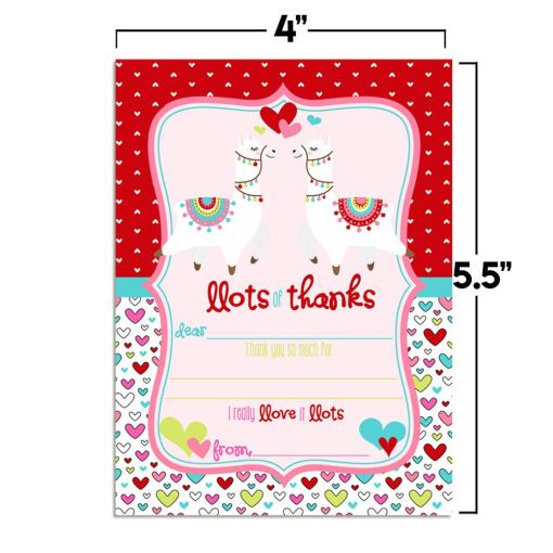 Llamas in Love Valentine Thank You Cards