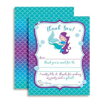 Magical Mermaid Thank You Cards