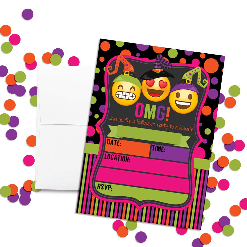 Neon Emoji Witches Halloween Birthday Party Invitations