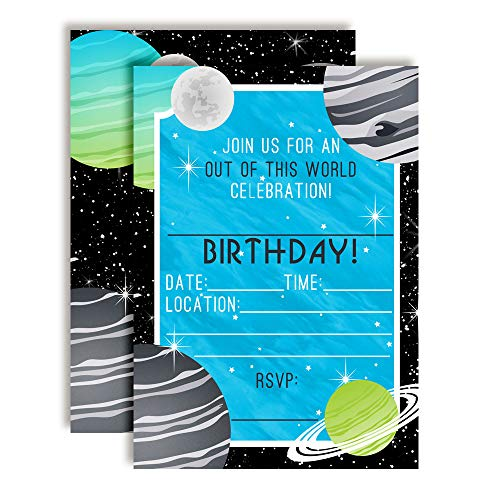 outer space planets themed birthday party invitations for kids