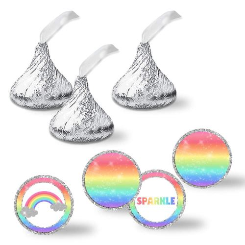 small resolution of rainbow sparkle birthday party kiss stickers