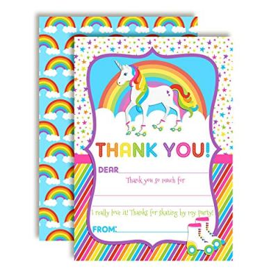 Unicorn Roller Skating Thank You Cards