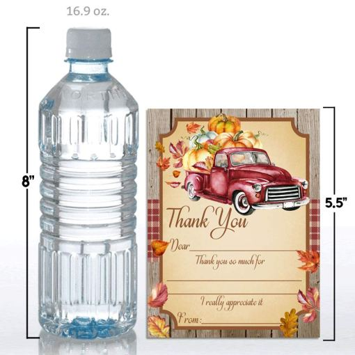 Red Truck With Pumpkins Birthday Thank You Cards