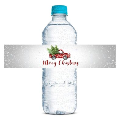 snowy pickup truck water bottle labels