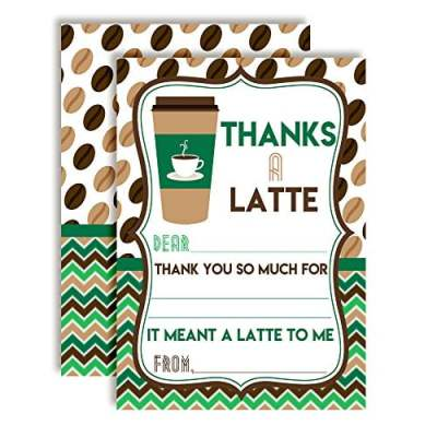 Thanks A Latte Thank You Cards (Green & Brown)
