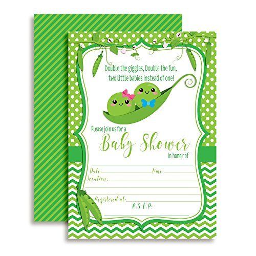 Two Peas In A Pod Twins Baby Shower Invitations Boy