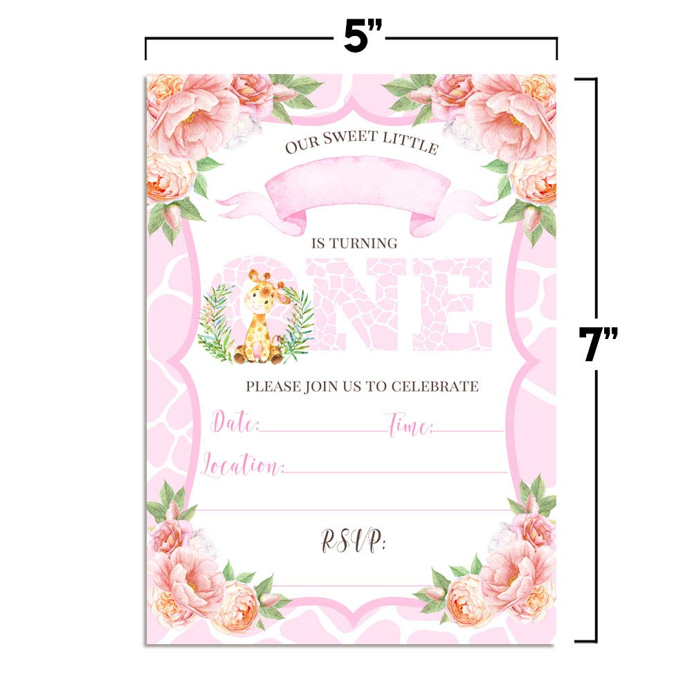 20 5x7 Fill in Cards with Twenty White Envelopes by AmandaCreation. Watercolor Tea Party Birthday Party Invitations for Girls