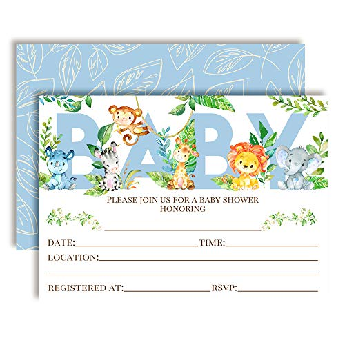 Watercolor Jungle Animals Baby Shower