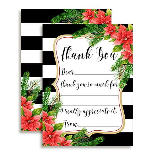Poinsettia Christmas Thank You Cards