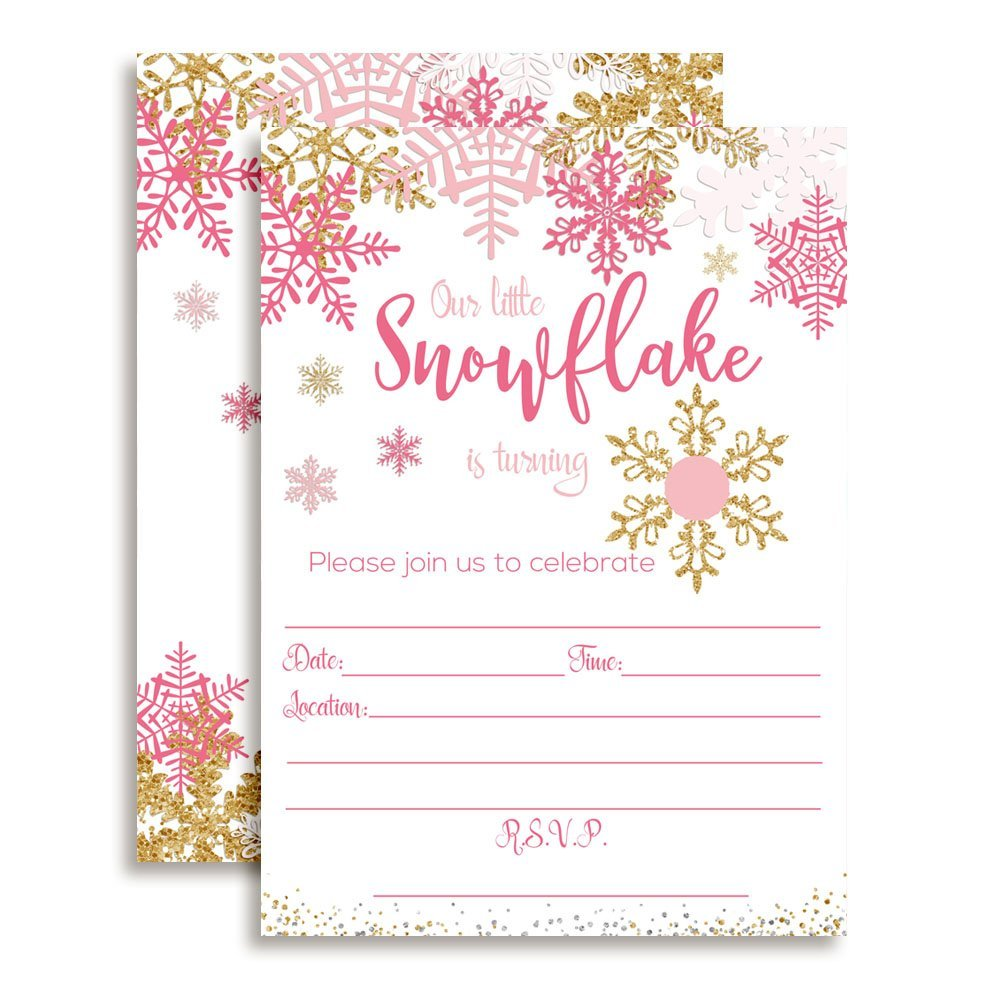 pink gold winter snowflake birthday party invitations fill in age