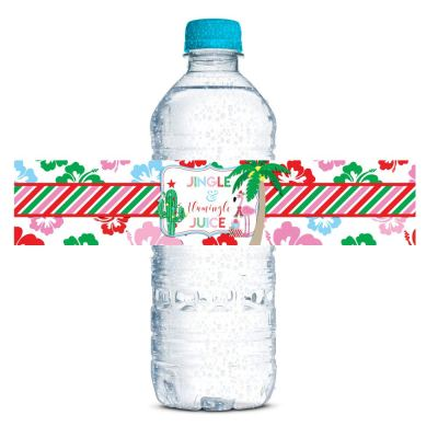 tropical flamingo christmas water bottle labels