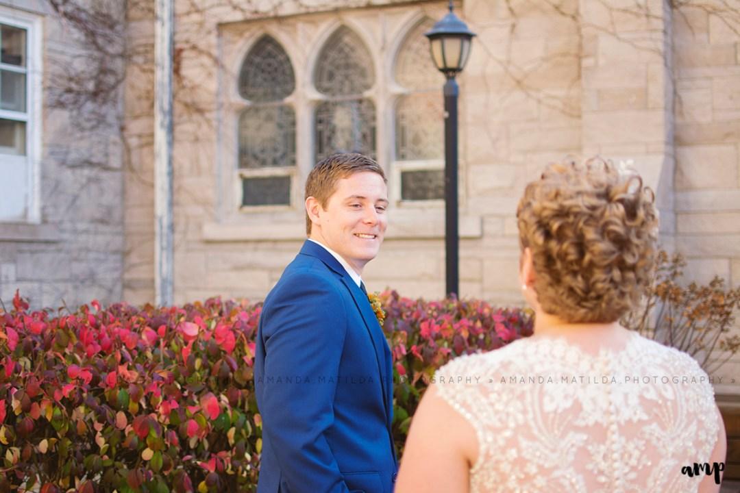 autumn wedding first look   Grand Junction Colorado wedding photographer