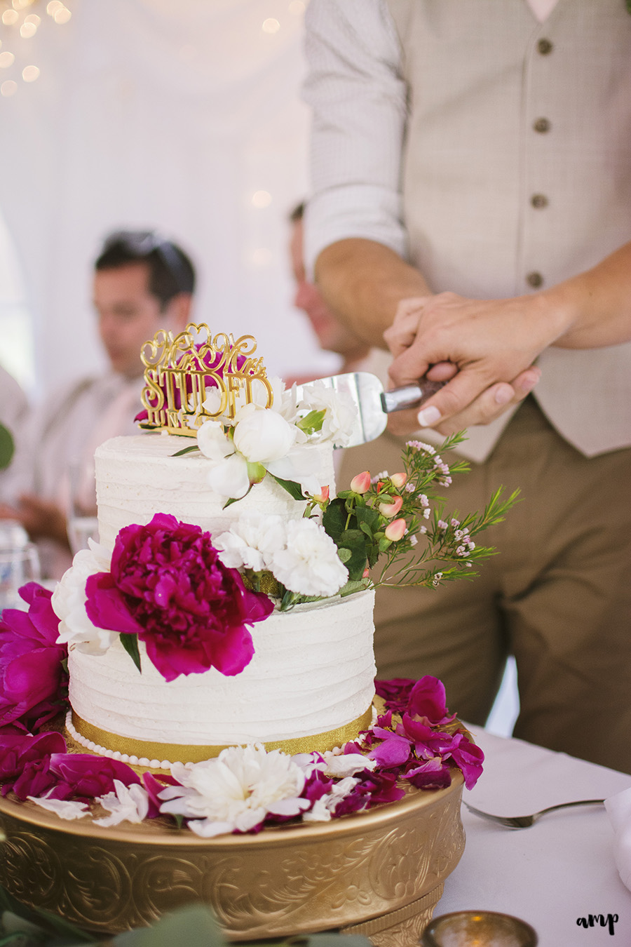 cutting the cake | Ali and Joe's #gardenwedding by amanda.matilda.photography | Colorado Wedding Photographer