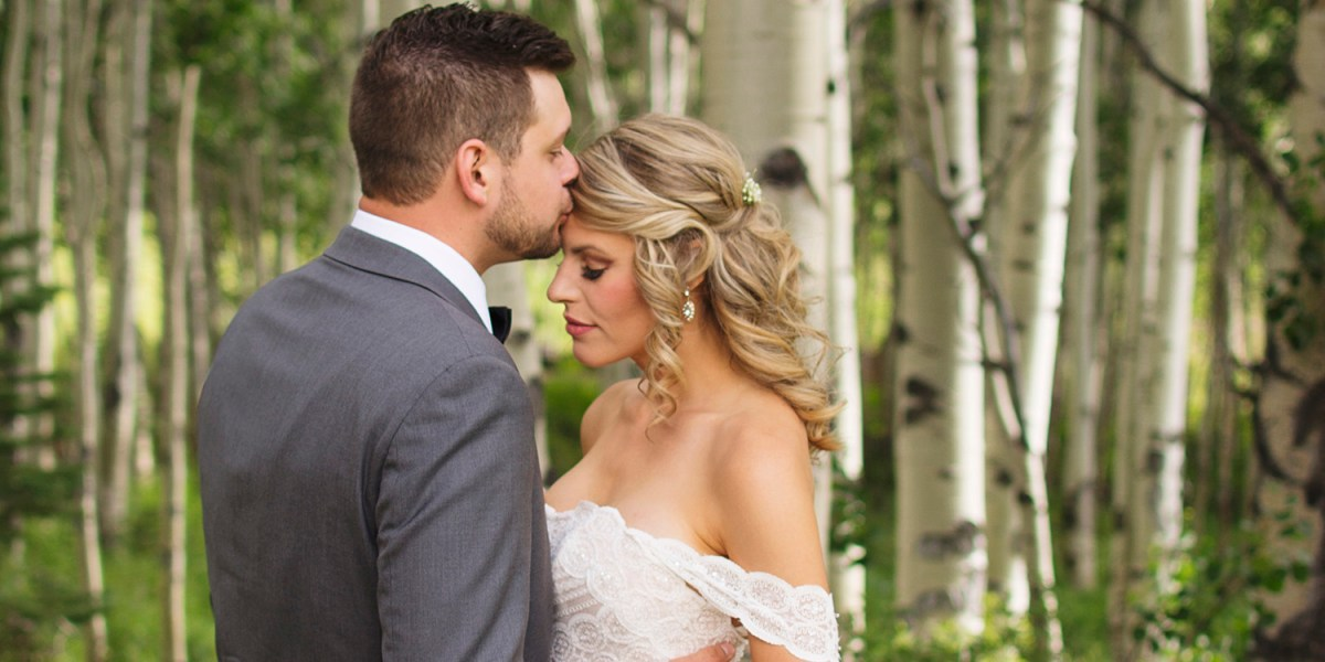 Bride & Groom in the Aspens | Powderhorn Ski Resort Wedding Photographer