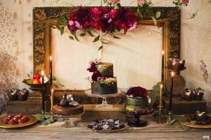 Moody Black Autum Wedding Dessert Table   Sweet Kiwi and amanda.matilda.photography