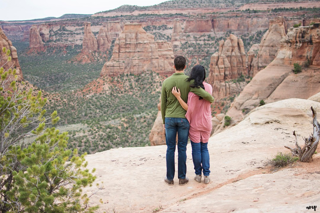 Couple staring into the canyon of the Colorado National Monument